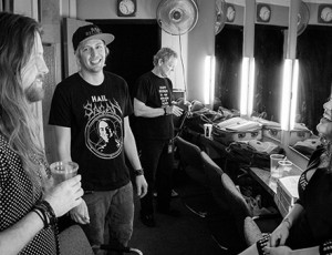 Andrew Robertson, Steve Cass, Shelly Segal backstage in the green room at the Album Release Show in Ramona, CA.  Photo by Craig Chaddock.