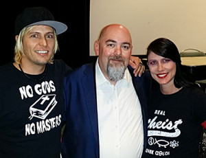 Steve Cass, Matt Dillahunty, Tally Cass at Does God Exist? The Debate at the Price Theater, UCSD, San Diego, CA